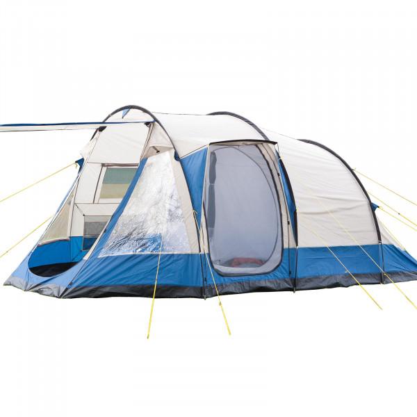 Familienzelt Camping Tunnel zelt Skandika Lyon 5 Personen mit eingenähtem zeltboden (sand/blau)