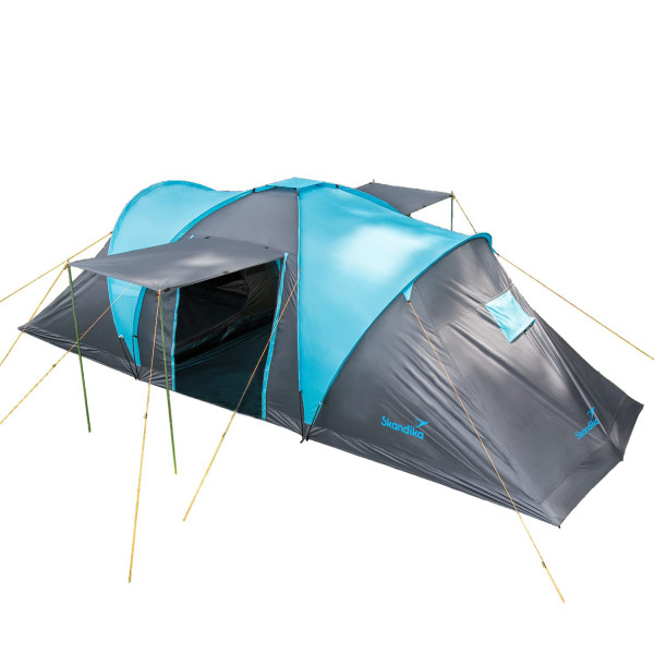 Kuppelzelt Hammerfest 6 Personen mit 2 Sonnendächer, Blau