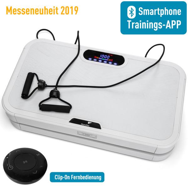 skandika 900 Smart Vibrationsplatte- 3D Wipp Vibrations mit Trainings-App (weiß)