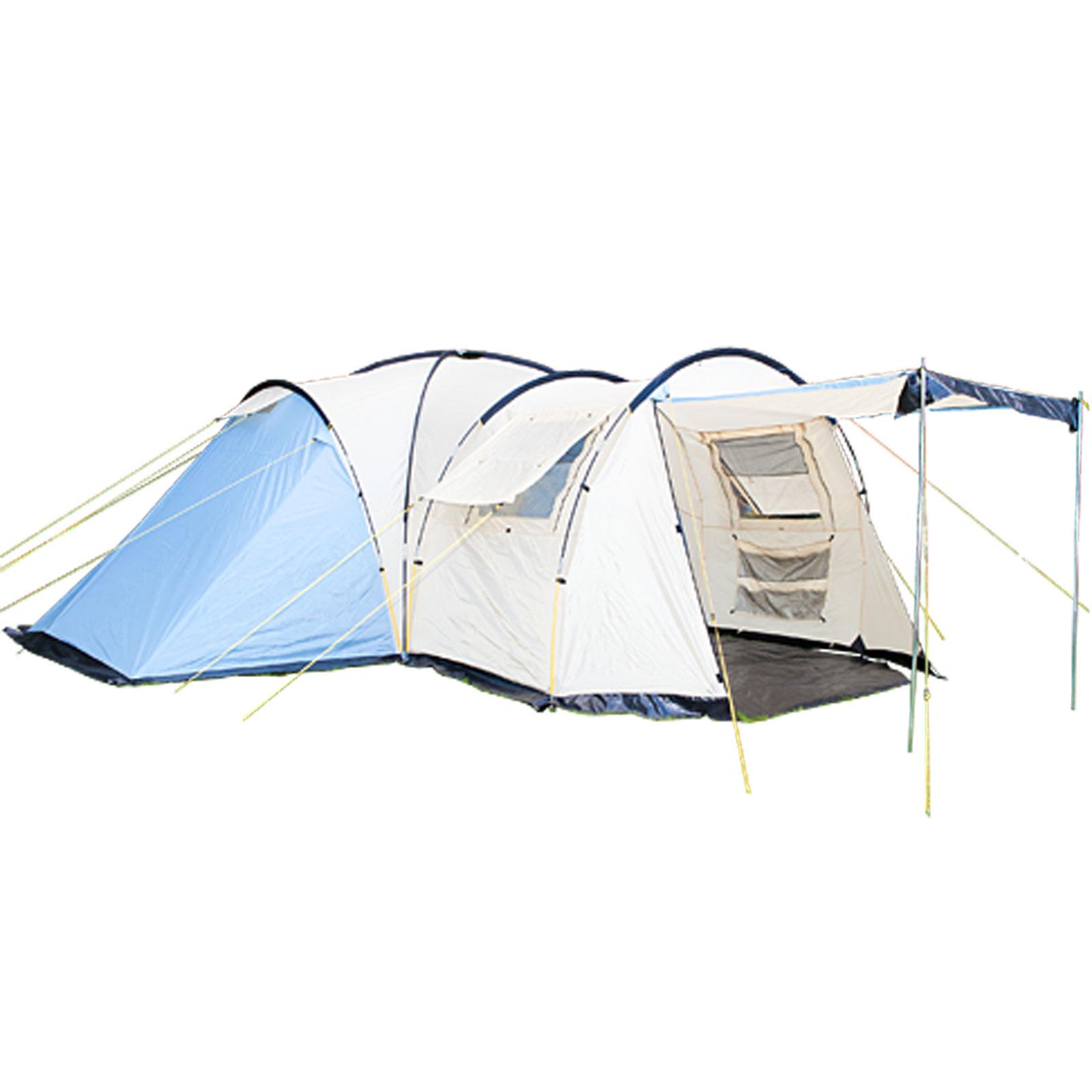 kuppelzelt skandika toronto 6 mann gruppen zelt 3 schlafkabinen 5000ws blau beige max. Black Bedroom Furniture Sets. Home Design Ideas