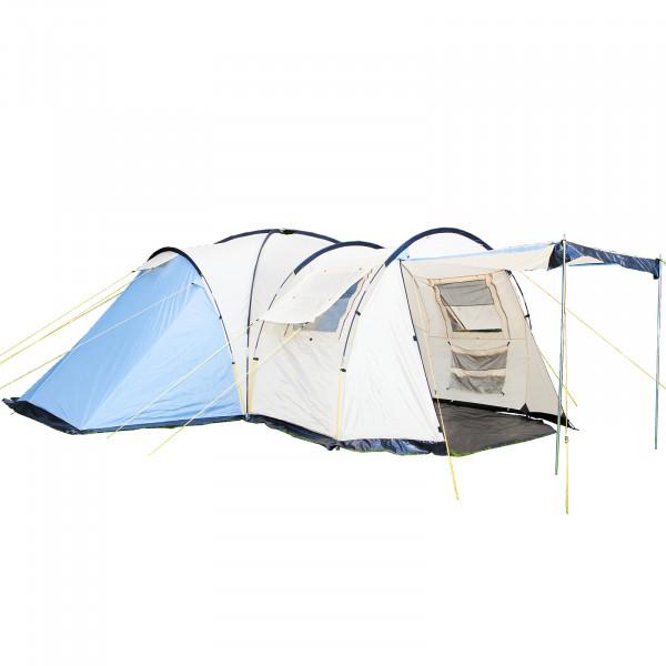 Kuppelzelt SKANDIKA Toronto 8 Mann Gruppen Zelt - 3 Schlafkabinen, 5000WS, Blau/Beige