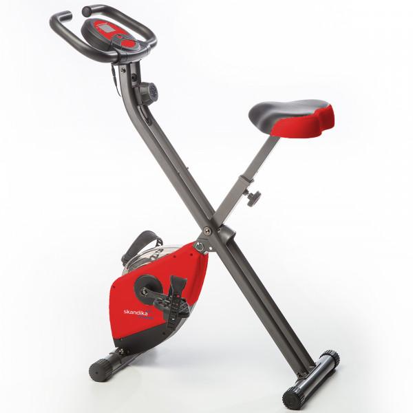 Heimtrainer SKANDIKA Foldaway X-1000 X-bike / F-bike klappbar mit Handplus-Sensoren (rot)