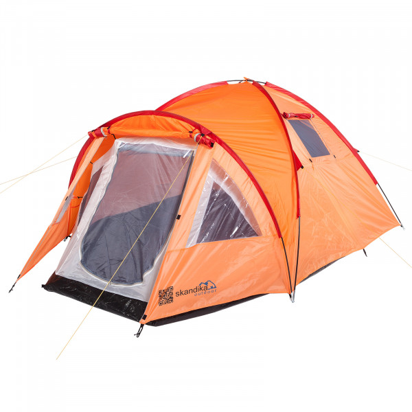 Trekkingzelt SKANDIKA Mora 3 Personen leicht Campingzelt (orange/rot)