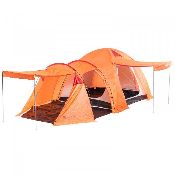 Kuppelzelt SKANDIKA Oulu 4 Personen Kompaktzelt mit Wassersäule und Moskitonetz (orange/rot)