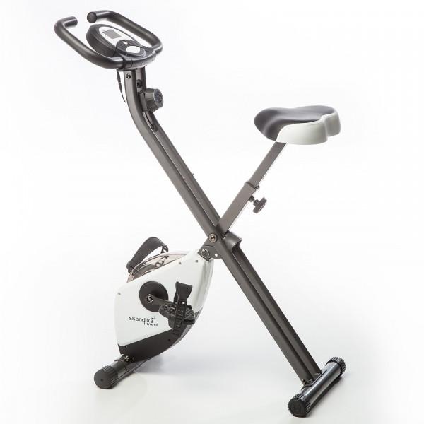 Heimtrainer SKANDIKA Foldaway X-1000 - X-bike / F-bike klappbar mit Handplus-Sensoren (weiß)