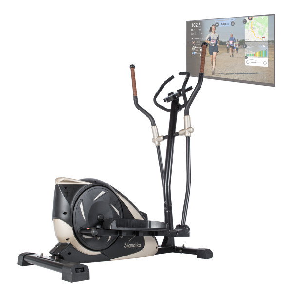 Crosstrainer Adrett mit Video Streaming Funktion und Kinomap, Schwarz/Gold