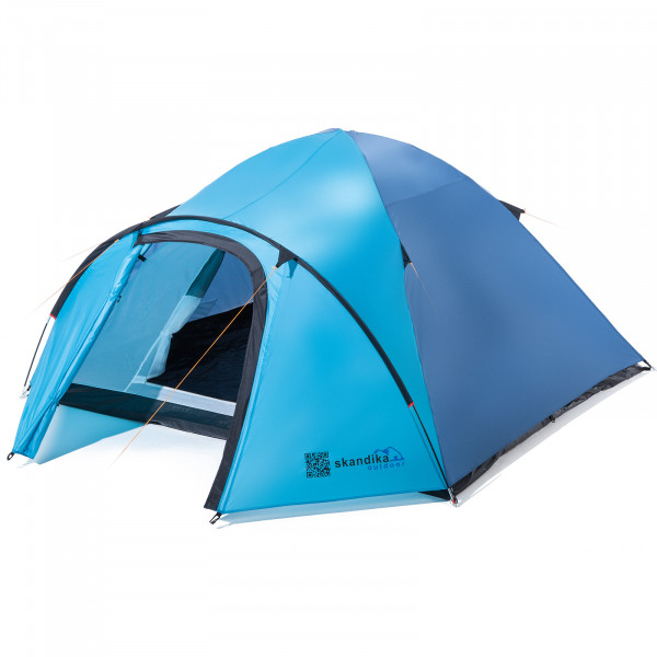 Trekking-Zelt SKANDIKA Larvik 3 Personen Leicht Camping Zelt (blau)