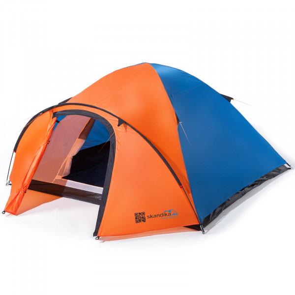 Trekking-Zelt SKANDIKA Larvik 4 Personen Leicht Camping Zelt (blau/orange)