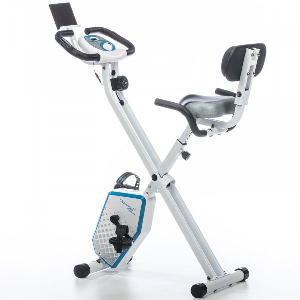 Heimtrainer SKANDIKA Foldaway X-1000 Plus X-bike / F-bike klappbar mit Handplus-Sensoren (weiß)